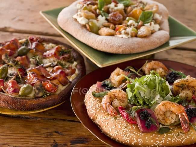 Three Assorted Pizzas — Stock Photo