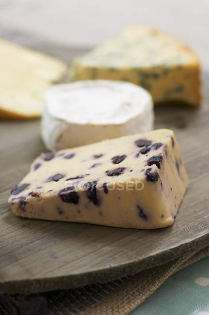 Various Cheese on Breadboards — Stock Photo