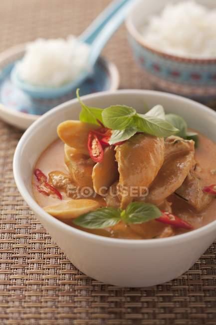 Würziges Huhn-Curry mit Reis — Stockfoto