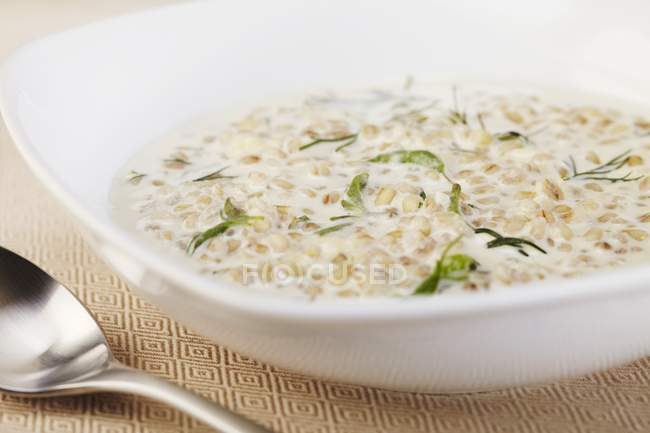 Creamy Barley Soup in white bowl — Stock Photo