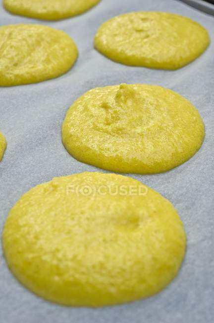 Piles of macaroon dough — Stock Photo