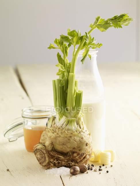 Ингредиенты для сельдерей пюре на белой поверхности — стоковое фото