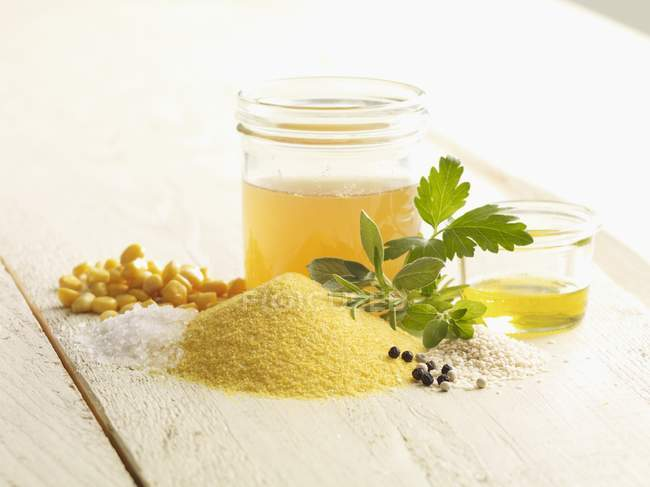 Closeup view of ingredients for herb Polenta — Stock Photo