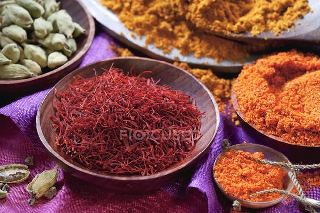 Closeup view of assorted spices in small containers — Stock Photo