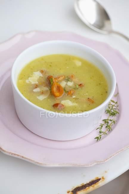 Chanterelle mushroom soup — Stock Photo