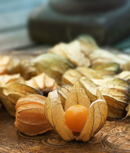 Physalis fruits with capes on table — Stock Photo