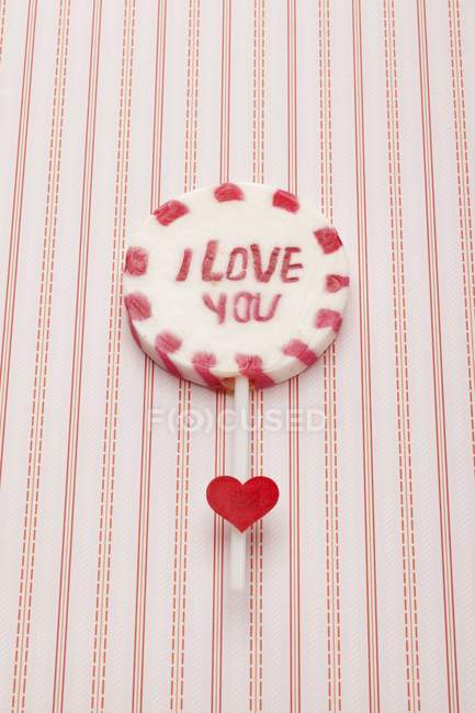 Closeup view of lolly with I love you words — Stock Photo