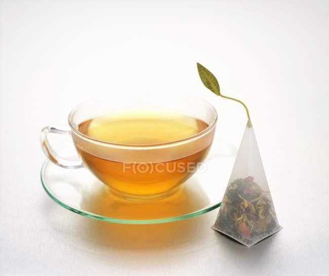 Tea in glass tea cup — Stock Photo
