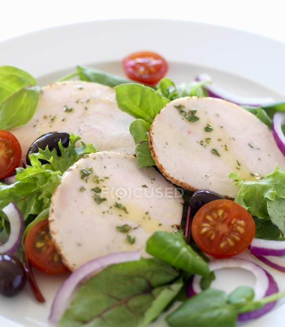 Herb chicken slices with salad — Stock Photo