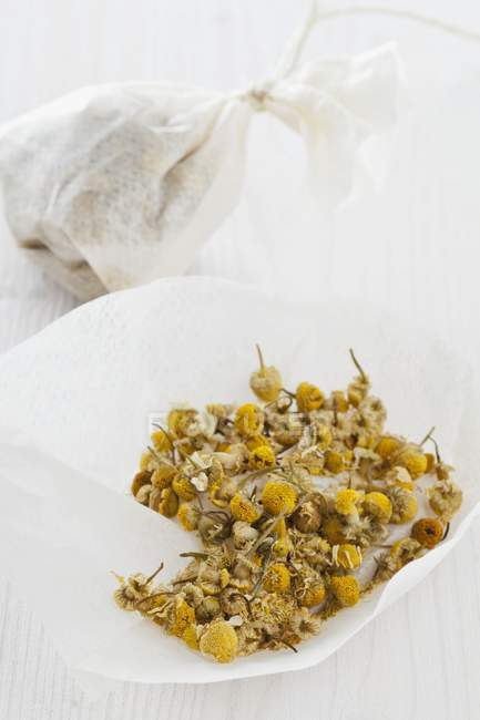 Flores de manzanilla en la bolsa de té - foto de stock