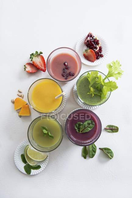 Various sweet smoothies — Stock Photo