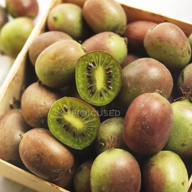 Crate of Fresh Kiwi Berries — Stock Photo