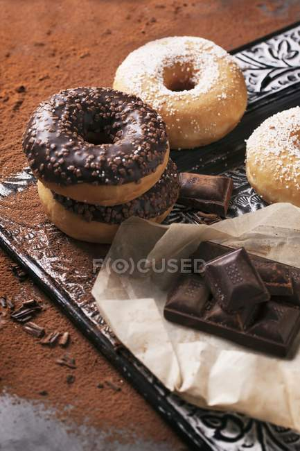 Chocolate glazed doughnuts — Stock Photo