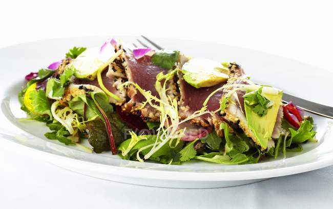 Mixed leaf salad with ahi tuna and avocado  on white plate with fork — Stock Photo