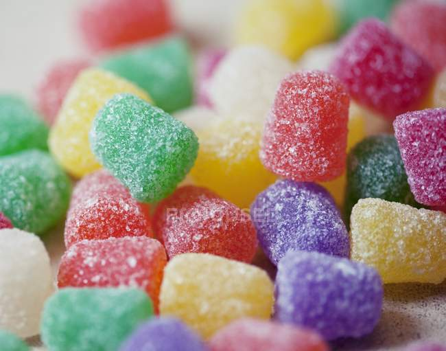 Closeup view of colorful gum drops in sugar — Stock Photo
