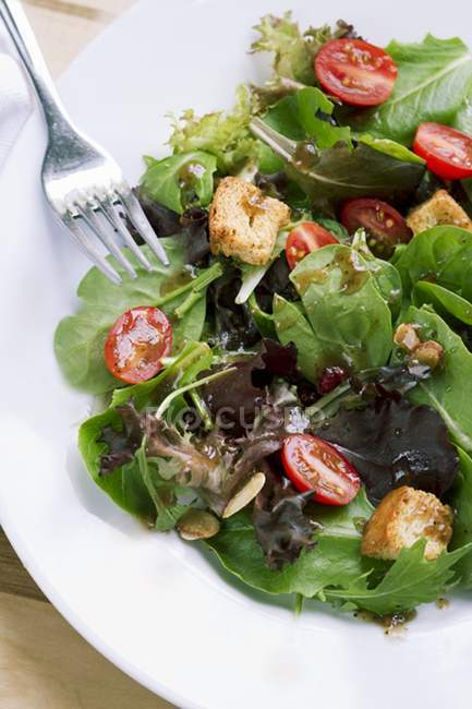 Spinach and Mixed Green Salad with Croutons and Tomatoes on white plate with fork — Stock Photo