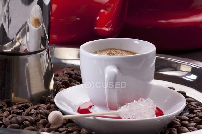 Cup with fresh coffee — Stock Photo