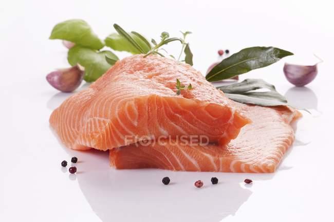 RAW Філе лосося з травами — стокове фото