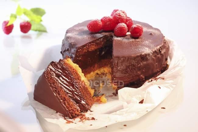 Torta al cioccolato condita lamponi — Foto stock