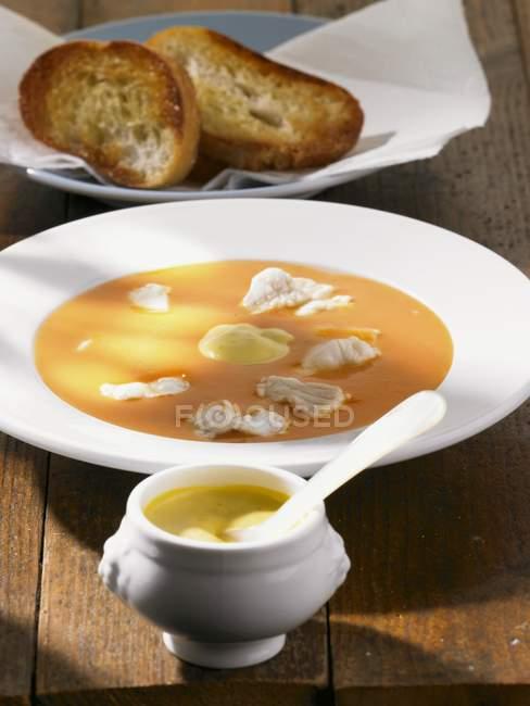Bouillabaise con rouille e pane — Foto stock