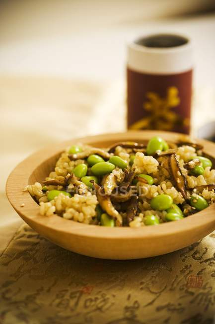 Bowl of brown rice — Stock Photo