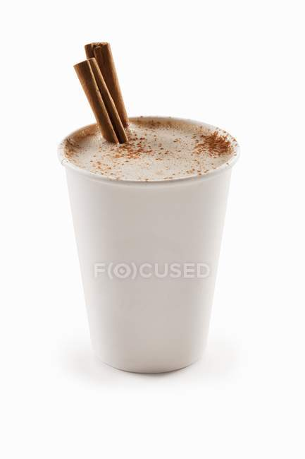 Cinnamon Cappuccino in a Paper Cup — Stock Photo