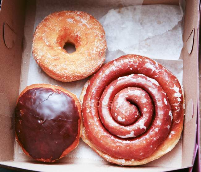 Three Assorted Doughnuts — Stock Photo