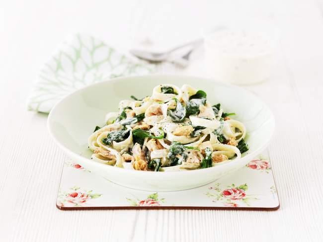 Plate of tagliatelle pasta — Stock Photo