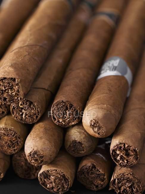 Detailansicht des braunen Zigarren in einem heap — Stockfoto