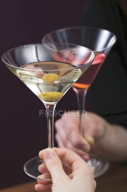Скляних Мартіні та скла cosmopolitan — стокове фото