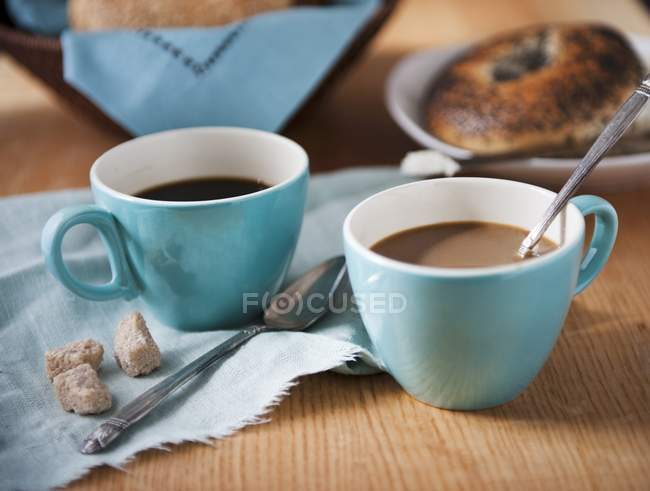 Cups of Coffee with Brown Sugar — Stock Photo