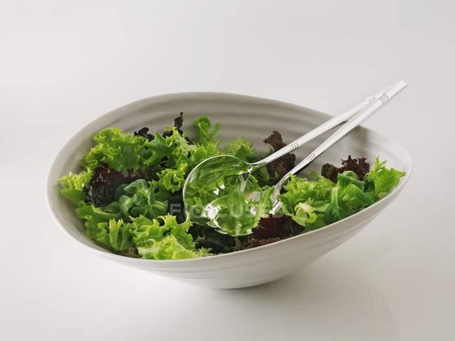 Змішані салат в миску з серверами салат — стокове фото
