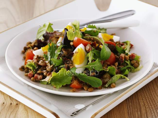 Lentil and chickpea salad with tomatoes — Stock Photo