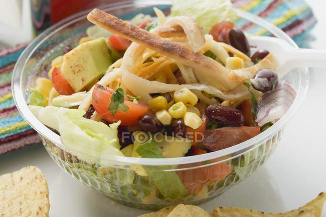 Mexican salad to take away in plastic bowl — Stock Photo