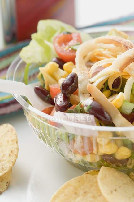 Mexican salad to take away in box — Stock Photo