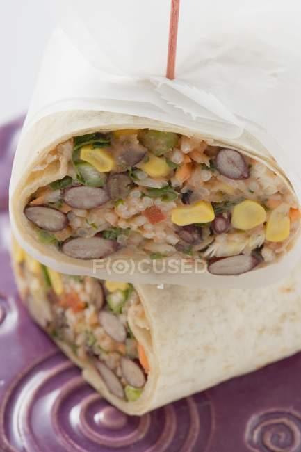 Burritos de feijão e arroz — Fotografia de Stock