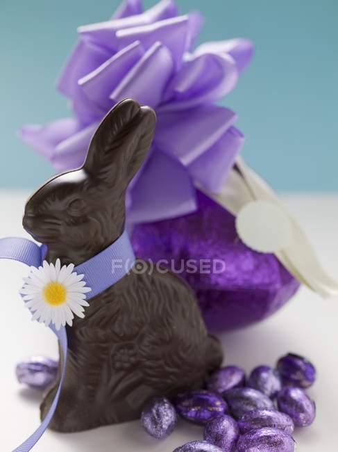 Шоколадные кролик и пасхальные яйца — стоковое фото
