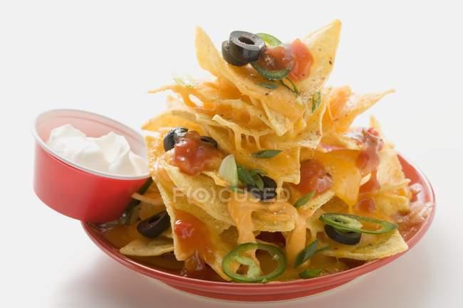 Nachos con queso blanco - foto de stock