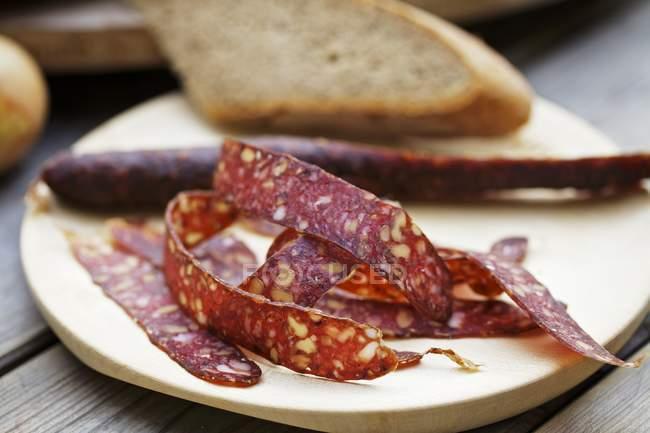 Souper avec salami de cerf — Photo de stock