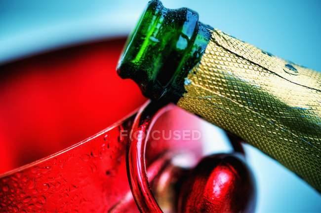 Пляшку шампанського і вина охолоджувач — стокове фото
