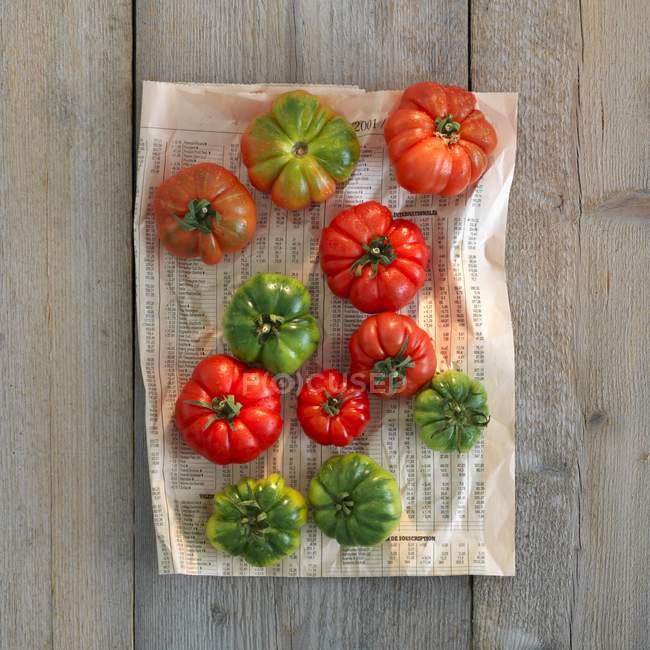 Зелений та червоний помідори — стокове фото