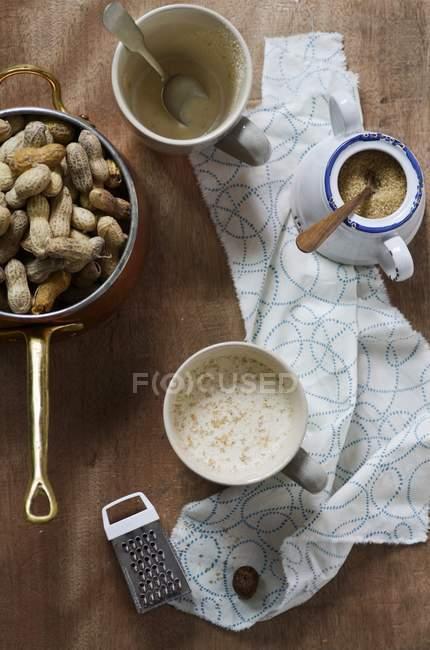 Leite de amendoim com açúcar — Fotografia de Stock