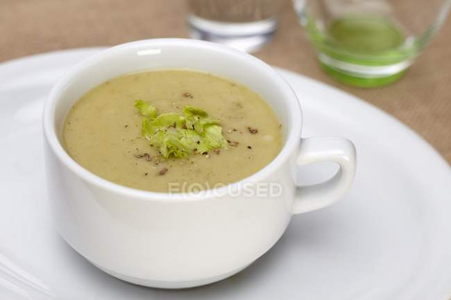Cream of Asparagus Soup with Cracked Pepper — Stock Photo