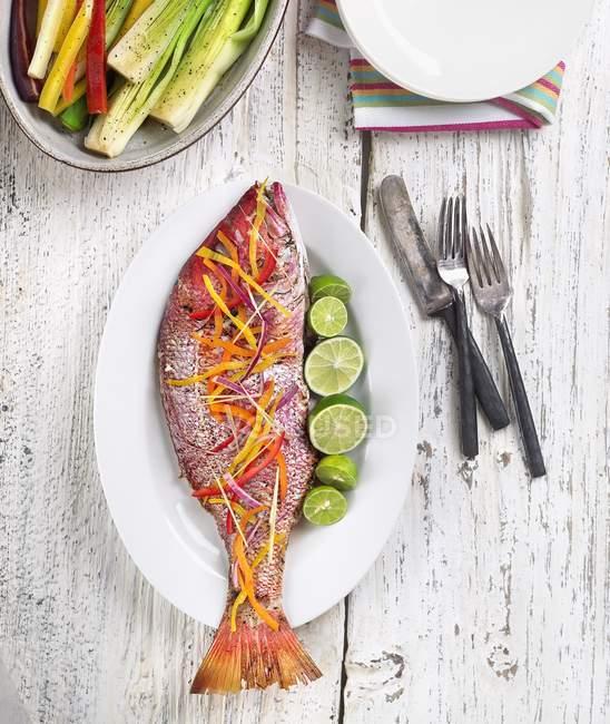 Snapper cozido inteiro decorado com legumes — Fotografia de Stock