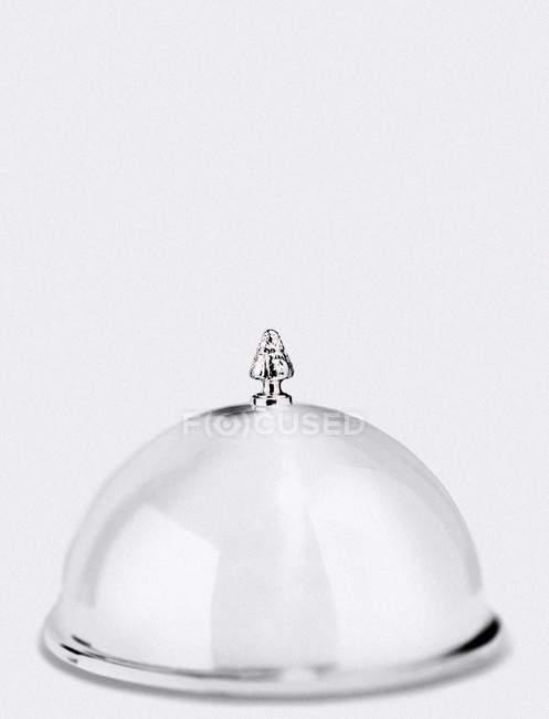 Крупный план серебряного клоша, увенчанного миниатюрным деревом — стоковое фото