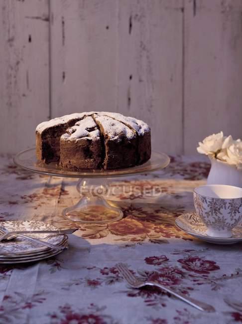 Шоколадный торт, посыпанный сахарной пудрой — стоковое фото