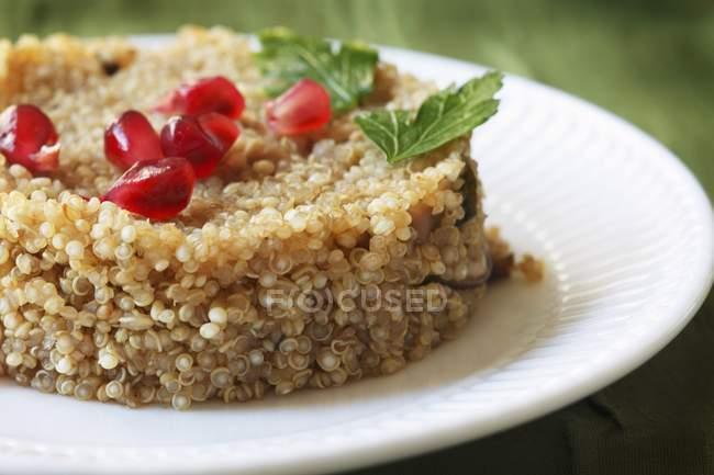 Vista del primo piano di quinoa con funghi e chicchi di melagrana — Foto stock