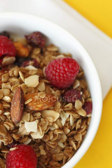 Bowl of granola with almonds — Stock Photo