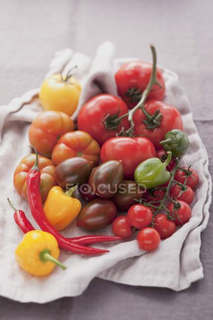 Assortment of tomatoes and chillies — Stock Photo