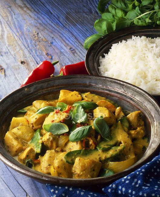 Thai Chickencurry mit Reis — Stockfoto